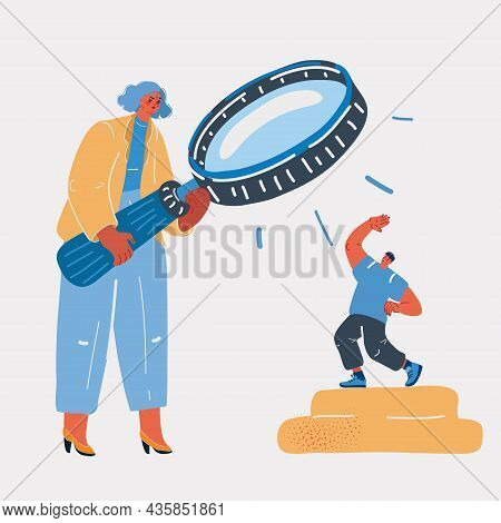 Vector Illustration Of Woman Looking At The Man Through A Magnifying Glass Staff Recruitment Or Spec