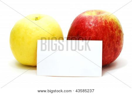 Red And Yellow Apples With Card
