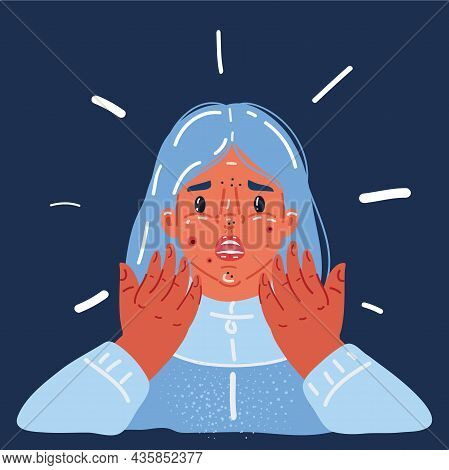 Vector Illustration Of Teenager Girl Struggling With Acne Over Dark Backround