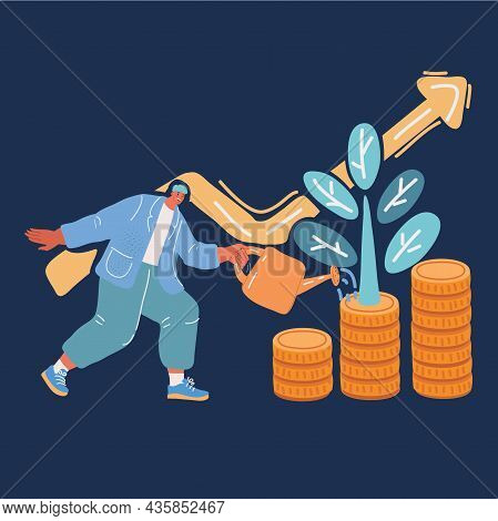 Vector Illustration Of Business Woman Watering Money Flower. Man Investing In Business Project. Inve
