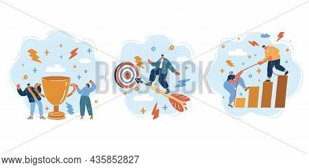 Vector Illustration Of Group Of People Standing Together, Community, Togetherness. Man Fly On Arrow