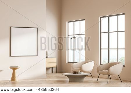 Bright Gallery Room Interior With Empty White Poster, Two Armchairs, Panoramic Window, Sideboard And