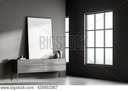 Dark Gallery Room Interior With Empty White Poster, Panoramic Window With Countryside View, Sideboar