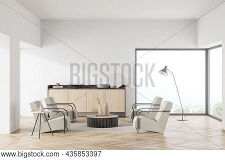 Bright Living Room Interior With Panoramic Window With Countryside View, Two Coffee Tables, Sideboar