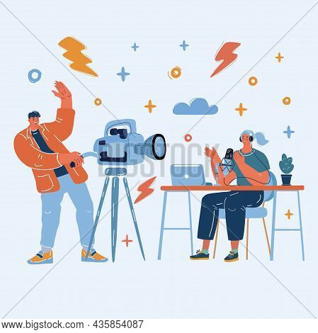 Vector Illustration Of Man And Girl Video Bloggers.