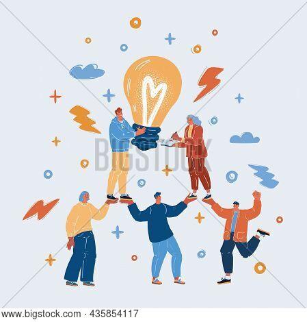 Vector Illustration Of Togetherness Concept. People Symbol Chain. Team Create Startup Together.