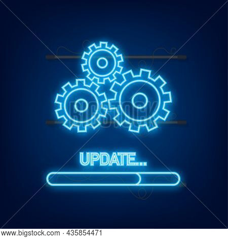 System Software Update Or Upgrade Neon Icon. Banner New Update, Badge, Sign. Vector Illustration
