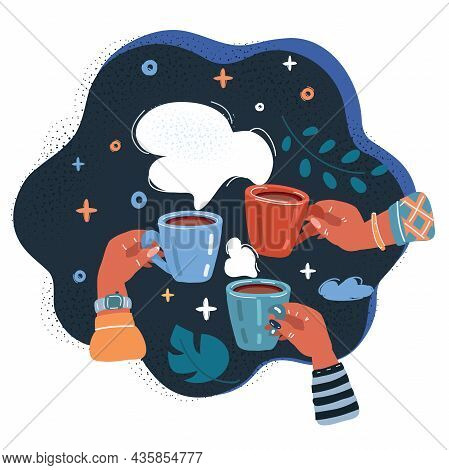 Vector Illustration Of Thre Friend Or Colleagues Get Together With Hot Drinks In They Hands Over Dar