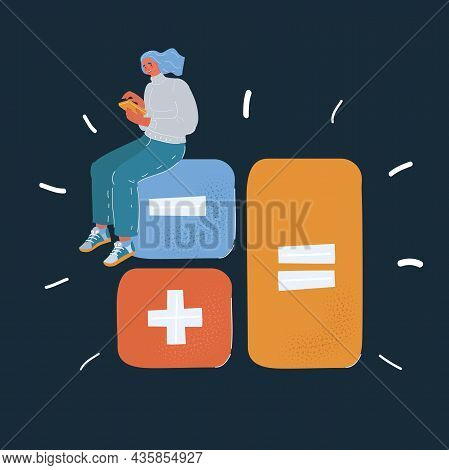 Vector Illustration Of Calculator. Financial Calculations, Accountant. Accounting, Book Keeping On D