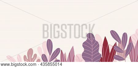 Floral Web Banner With Drawn Color Exotic Leaves. Nature Concept Design. Modern Floral Compositions