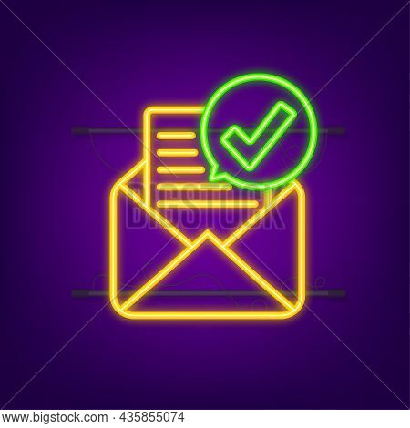 Opened Envelope And Document With Green Check Mark. Neon Icon. Verification Email. Vector Illustrati