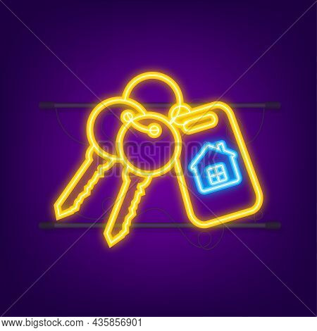 For Rent House, Concept. Real Estate Agent Holds The Key From The Home. Neon Style. Vector Illustrat