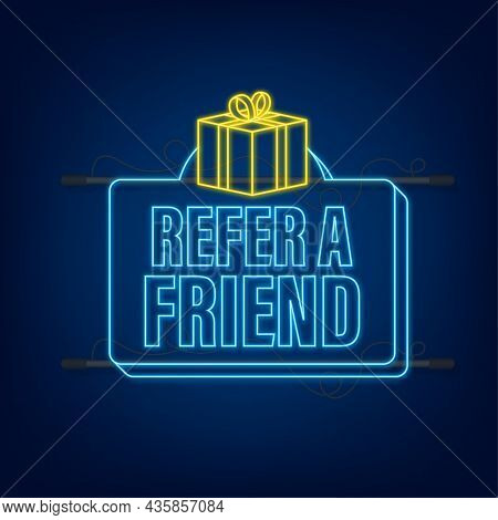 Refer A Friend Neon Icon. Business Success. Neon Icon. Vector Stock Illustration