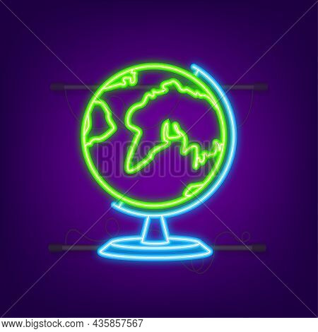 Earth Globes. Flat Planet Earth Neon Icon. Vector Stock Illustration