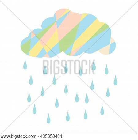 Rain In White Background,  Rainy Season, Clouds And Storm, Weather Nature Background, Flood Natural