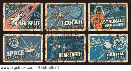 Astronaut, Spaceship And Satellites Rusty Plates. Outer Space, Orbital Or Galaxy Research Vector Rus