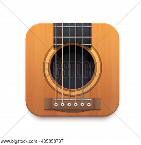Guitar Music App Interface Vector Icon With Acoustic Guitar Musical Instrument, Strings, Neck, Sound