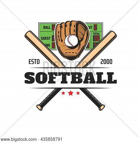 Softball Sport Icon, Baseball Club Team Badge And League Game Vector Emblem. Softball Or Baseball Eq