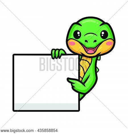 Cute Little Crocodile Cartoon With Blank Sign