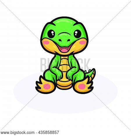 Vector Illustration Of Cute Little Crocodile Cartoon Sitting