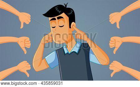 Man Not Listening To Negative Feedback Vector Cartoon