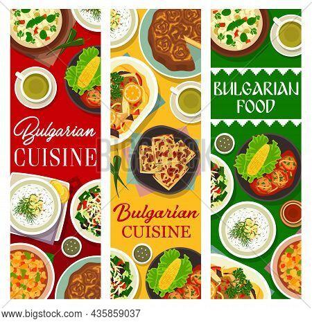 Bulgarian Food Restaurant Meals Banner. Vegetable Salad Shopska, Bryndza Bread And Banitsa, Kufteta