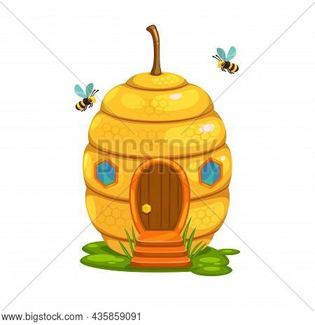 Bee Hive Cartoon Fairy House Or Dwelling Of Honey Bee Swarm Nest. Vector Fantasy Building In Shape O