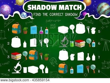 Shadow Match Game Worksheet, Cartoon Space Planets, Schoolbag, Textbook And School Stationery Silhou