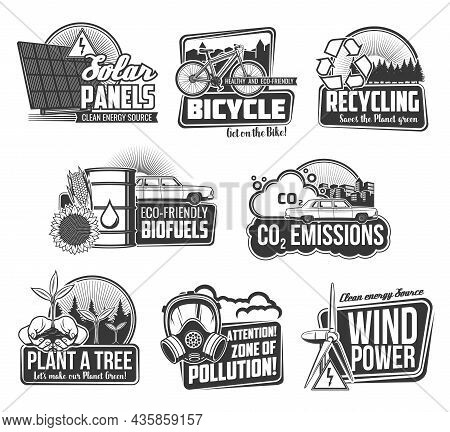 Ecology Environment And Recycling Eco Energy Vector Icons. Green Power, Eco Transport And Bio Fuel F