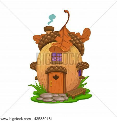 Fairy Oak Acorn House, Vector Dwelling Of Elf, Gnome Or Wizard. Cartoon Fantasy Home, Cottage Or Bun