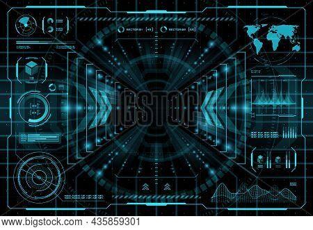 Hud Teleportation Portal Interface, Futuristic Innovation Teleport Technology Vector Interface Scree