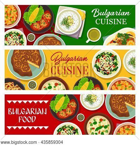 Bulgarian Cuisine Dishes, Restaurant Menu Meals Banners. Bryndza Bread Tutmanik, Kufteta Meatballs A