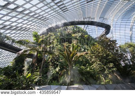 Singapore- Sep 9, 2021: The Cloud Forest In The Gardens By The Bay. Flower Dome And The Cloud Forest