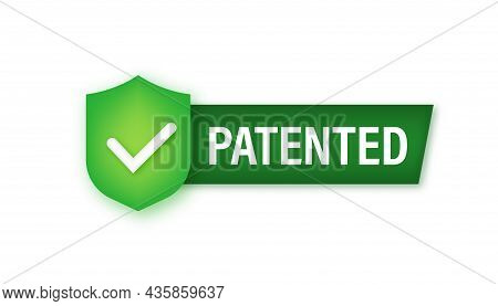 Gold Patented Label On Red Ribbon On White Background. Vector Stock Illustration