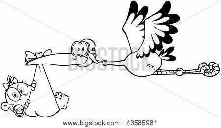 Outlined Stork Delivering A Newborn Baby Girl
