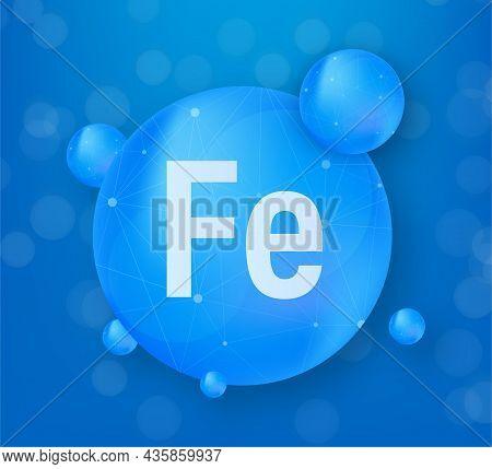 Mineral Fe Ferum Blue Shining Pill Capsule Icon. Vector Stock Illustration
