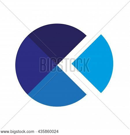 Blue Parts Of Round Icon. Segment Infographic. Cycle Diagram.  Business Background. Vector Illustrat