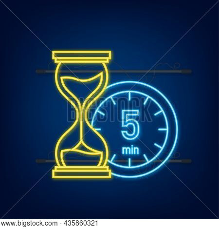 The 5 Minutes, Stopwatch Vector Neon Icon. Stopwatch Icon In Flat Style, Timer On On Color Backgroun