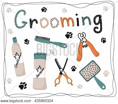 Set Hand Drawn Vector Isolated Elements. Grooming. Pet Salon. Pet Shop. Logo. Tools And Accessories