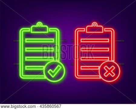 Approved And Rejected Rubber Sign On Document, Green And Red Color. Neon Icon. Vector Illustration