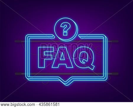 Frequently Asked Questions Faq Banner. Neon Icon. Computer With Question Icons. Vector Illustration