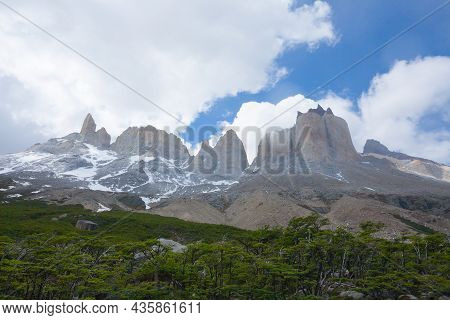 French Valley Landscape, Torres Del Paine National Park, Chile. Cuernos Del Paine. Chilean Patagonia