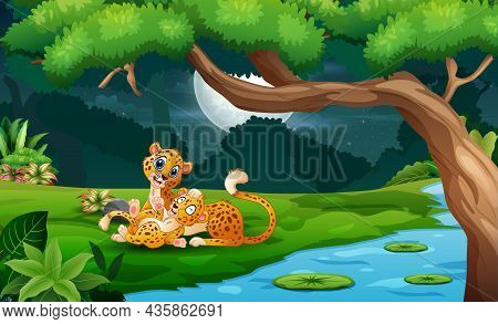 Cartoon Cheetah With Cubs By The River At Night