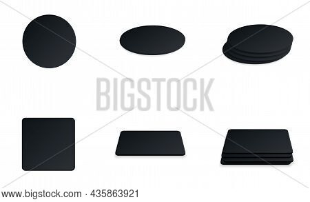 Circle And Square Beer Coaster. Empty Black Mockup. Pprotection Coaster For Beer Glasses, Tea Cups I