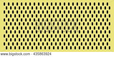 Peg Board With Oval Holes. Rectangle Yellow Peg Board Perforated Texture Background For Working Benc