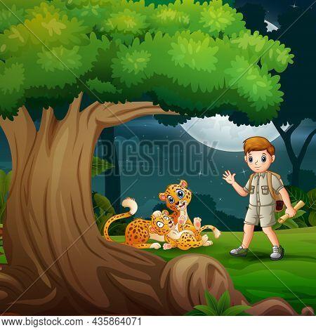 Cartoon The Explorer Boy And Cheetah Under The Tree
