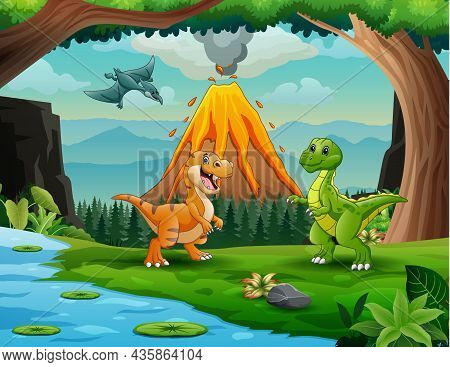 Dinosaurs At The Jungle With Volcanic Eruption Background