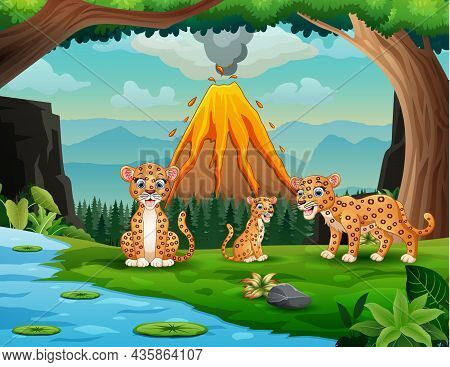 Volcano Erupting With Leopard Family By The River