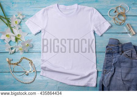 Womens T-shirt Mockup With Lilies And Lipstick