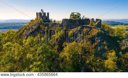 Andelska Hora Castle. Camera flight around gothic landmark near Karlovy Vary. Czech Republic, Central Europe.